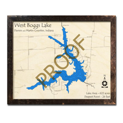 West Boggs Lake Indiana 3d wood map