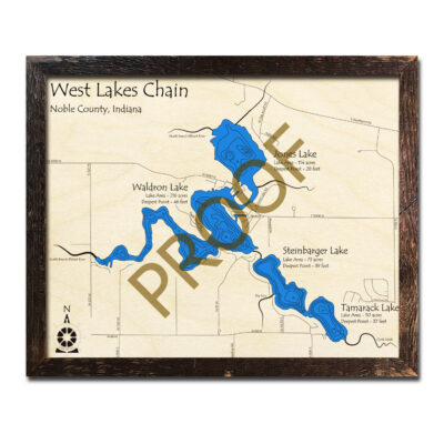West Lakes Chain Indiana 3d wood map