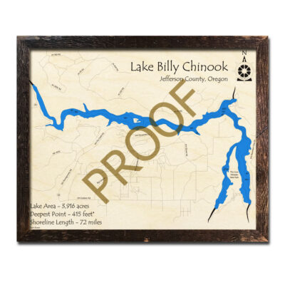 Lake Billy Chinook Wood Map 3d