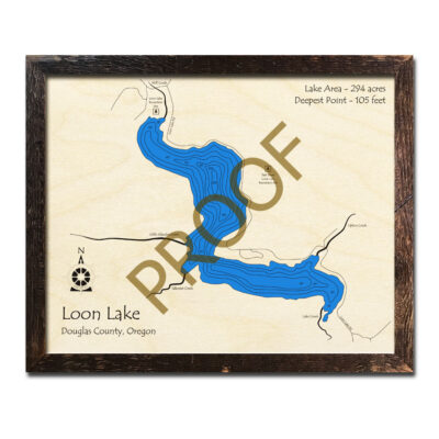 Loon Lake OR wood map 3d