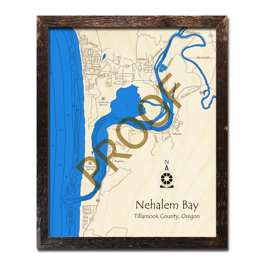 "Oregon Coast Framed 43/"" x 13.5/"" Oregon 3D Nautical Wood Map Carved Chart"