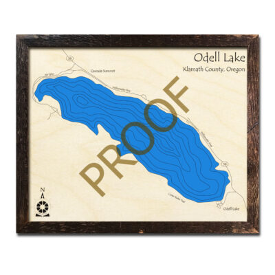 Odell Lake OR Wood Map 3d