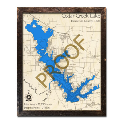 Cedar Creek Lake Texas Wood Map