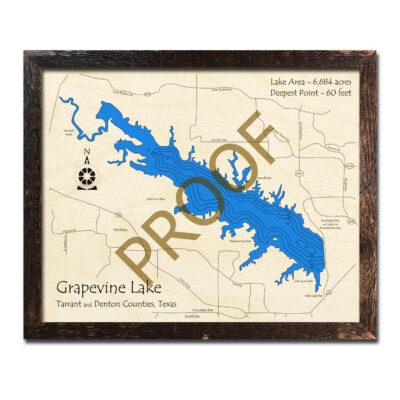 Grapevine Lake TX Wooden Map