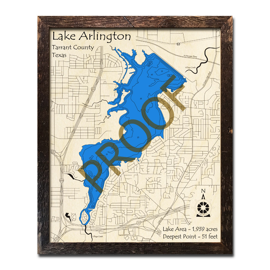Map Of Arlington Texas.Lake Arlington Texas 3d Wooden Map Framed Topographic Wood Chart
