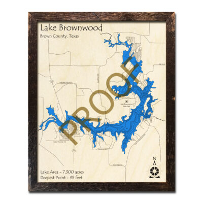 Lake Brownwood Wooden Map 3d