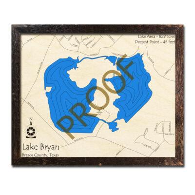Lake Bryan TX Wood Map
