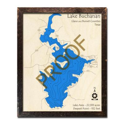Lake Buchanan Wood Map 3D