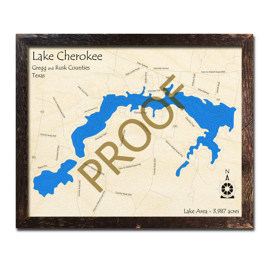 Map Of Texas Please.Lake Cherokee Texas 3d Wooden Map Framed Topographic Wood Chart