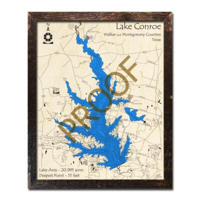 Lake Conroe Wood Map 3D