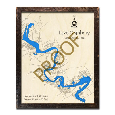 Lake Granbury Texas 3D Wood Map