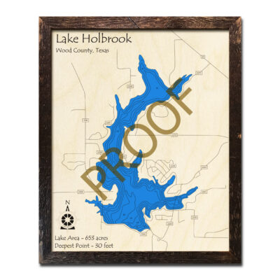 Lake Holbrook TX Wooden Map 3D