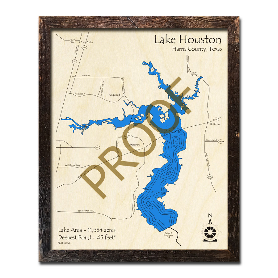 Lake Houston, Texas 3D Wooden Map | Framed Topographic Wood Chart