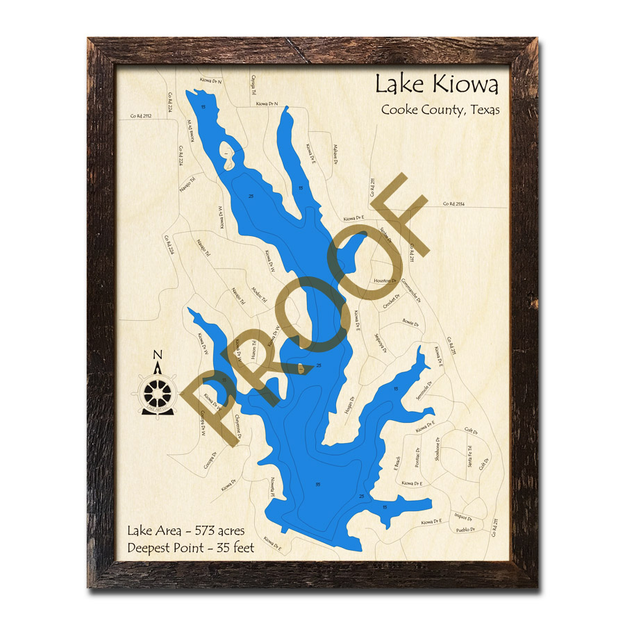 3d Map Of Texas.Lake Kiowa Texas 3d Wooden Map Framed Topographic Wood Chart