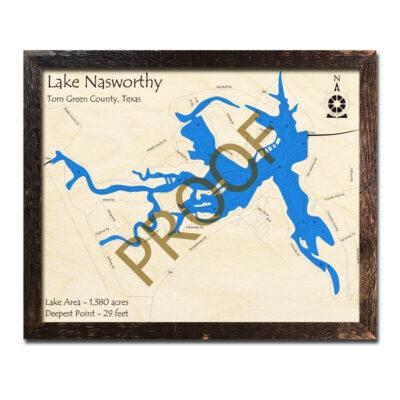Lake Nasworthy 3D Wood Map