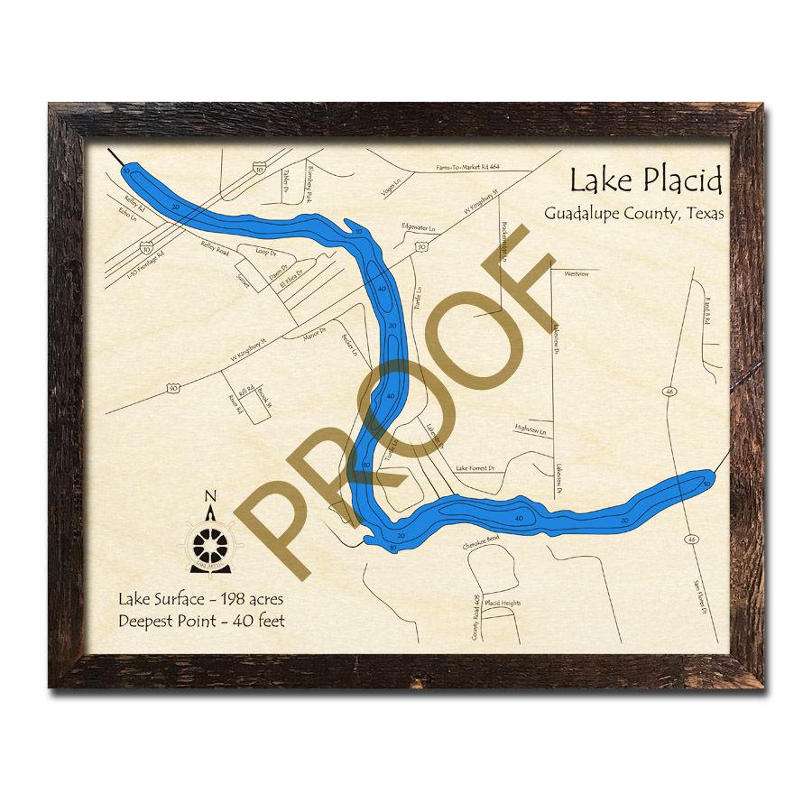 Lake Placid, Texas 3D Wooden Map | Framed Topographic Wood Chart