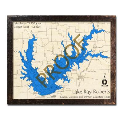 Lake Ray Roberts TX Wood Map 3d