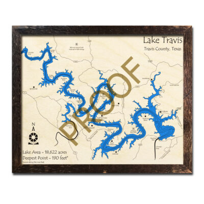 Lake Travis TX Wooden Map 3D