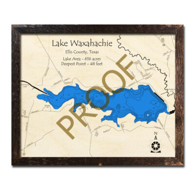 Lake Waxahachie wooden Map 3D