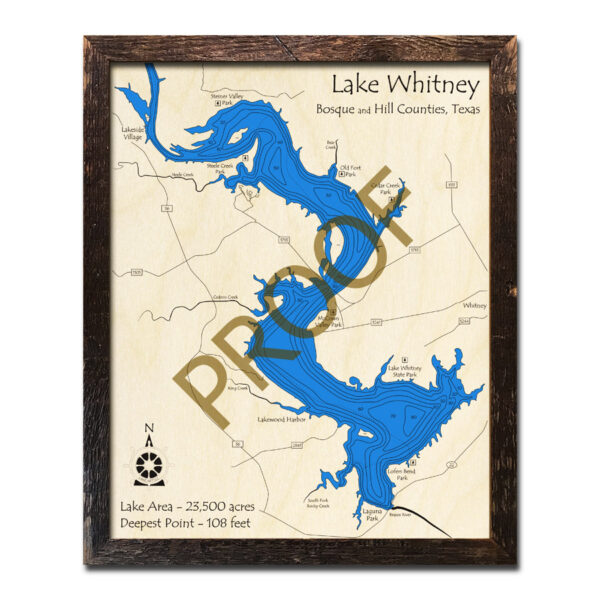 Lake Whitney 3d wood map