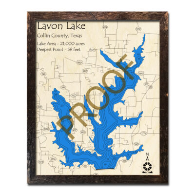 Lavon Lake TX Wooden Map in 3D