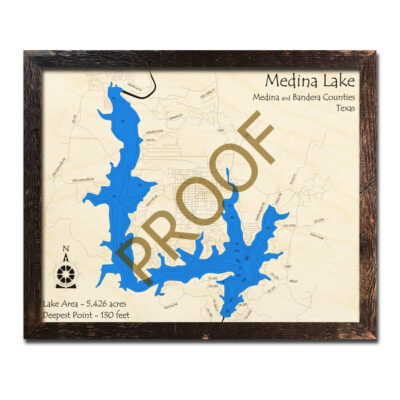 Medina Lake Map, 3D Wood Chart, Artwork