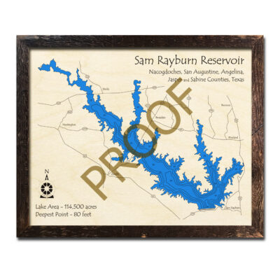 Sam Rayburn Reservoir Map, 3D wood Chart