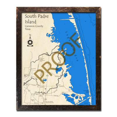 South Padre Island TX Wood Map 3D