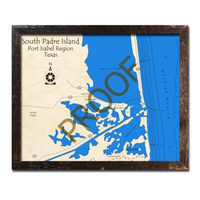 South Padre Island Port Isabel Wood Map