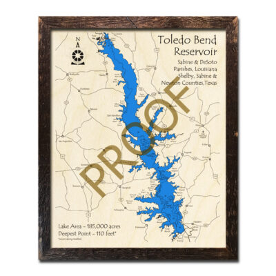Toledo Bend Reservoir Map, Framed Art