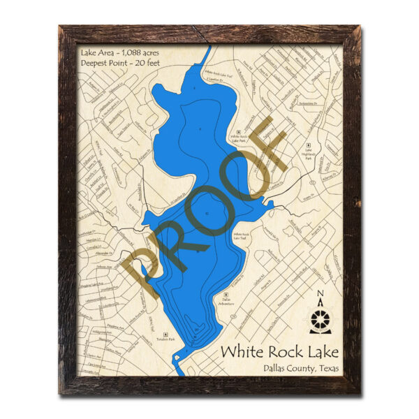 White Rock Lake Map, 3D Wooden Framed Art of White Rock Lake