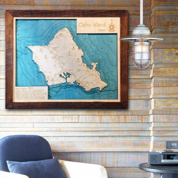 3D Framed Wooden maps