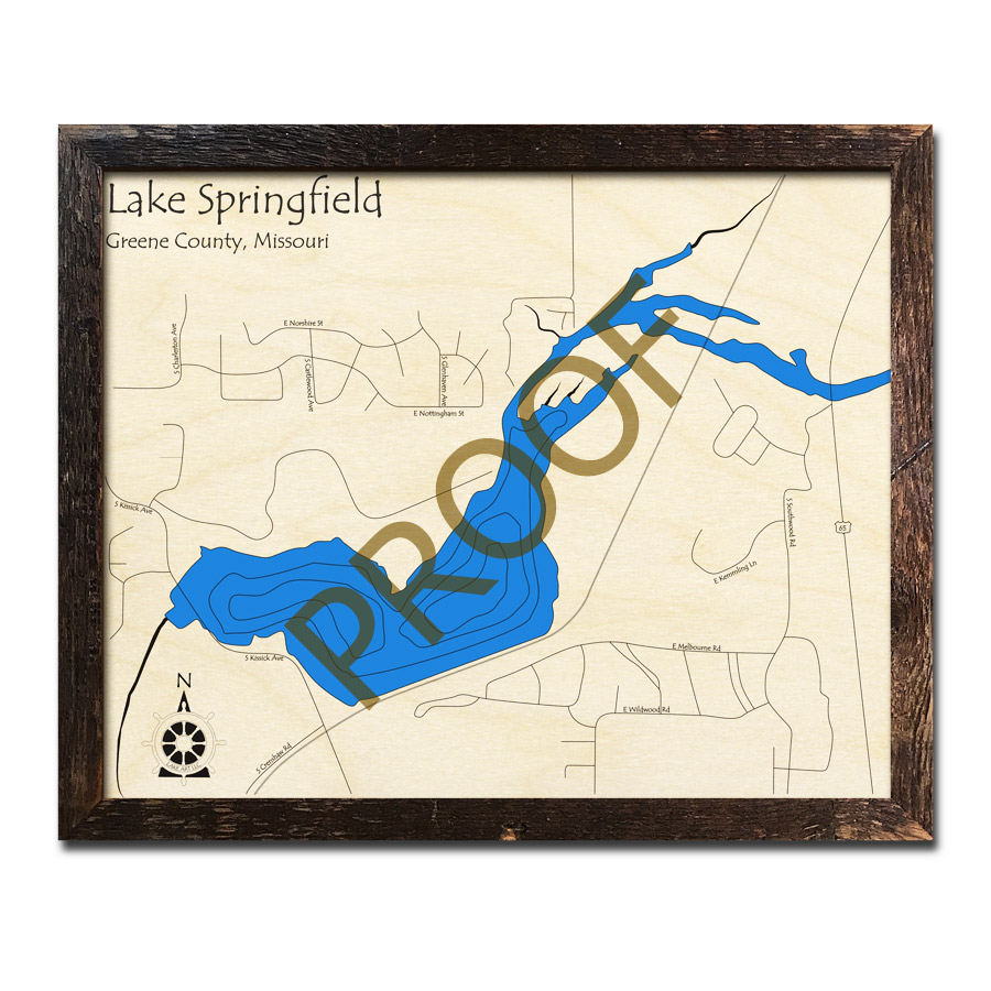 Lake Springfield Mo Wood Map 3d Nautical Decor