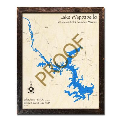 Lake Wappapello 3d Wood Map