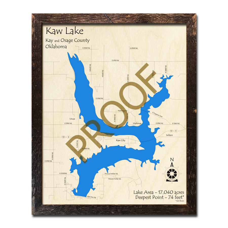 Kaw Lake Ok Wood Map 3d Nautical Wood Charts
