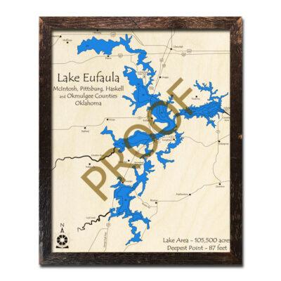 Lake Eufaula 3d wood map
