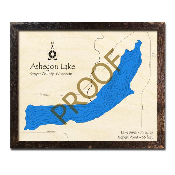 Ashegon Lake 3d wood map