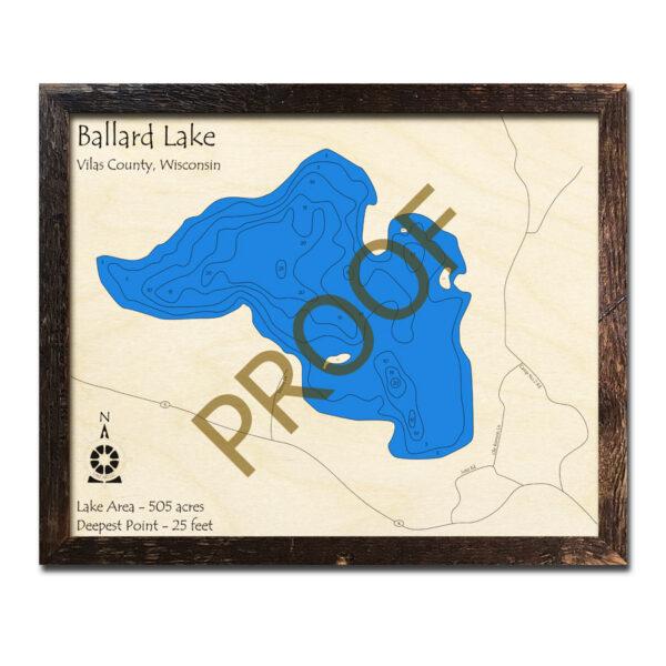 Ballard Lake 3d Wood Map
