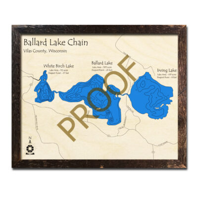 Ballard Lake Chain 3d Wood Map