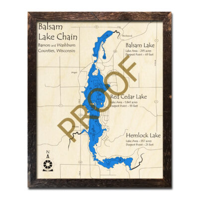 Balsam Lake Chain 3d wood map