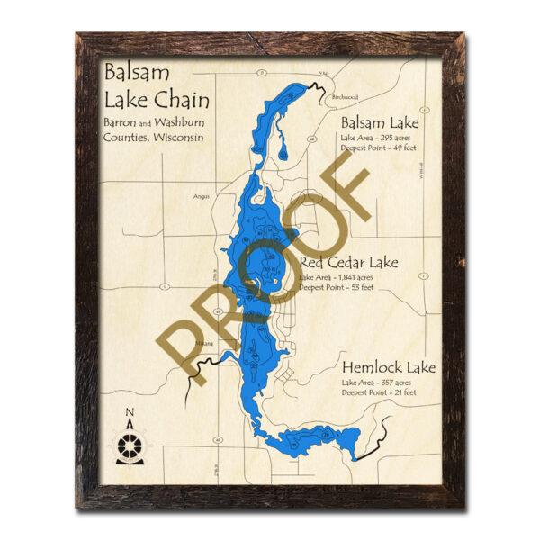 Balsam Lake Chain 3d wood map