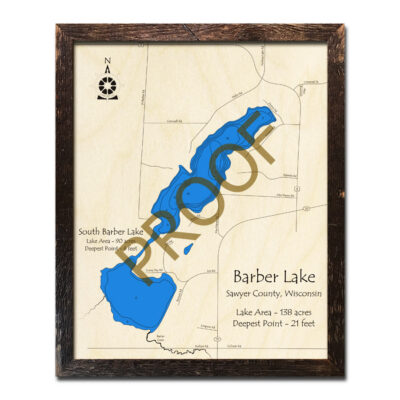 Barber Lake WI 3d Wood Map