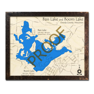 Bass Lake 3d Wood Map