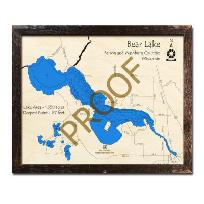 Bear Lake Wisconsin 3d wood map