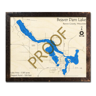 Beaver Dam Lake 3d Wood Map