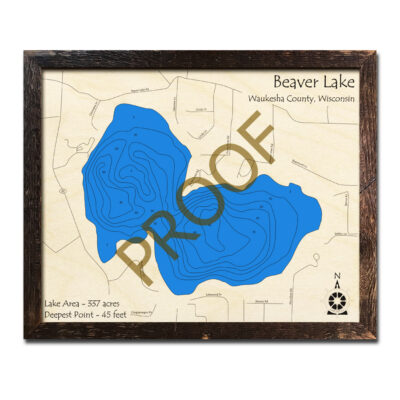 Beaver Lake WI 3d Wood Map