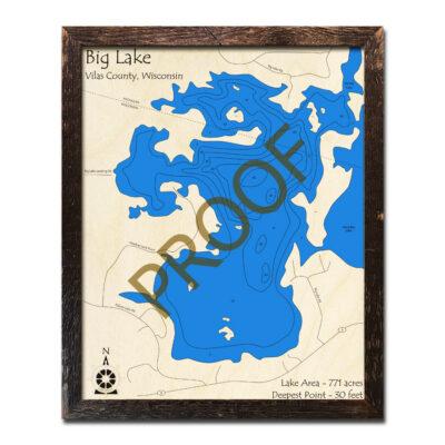 Big Lake 3D Wood Map Wisconsin