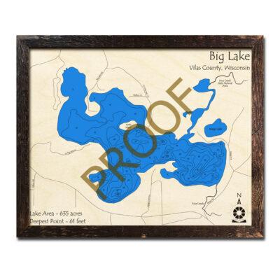 Big Lake WI 3d Wood Map