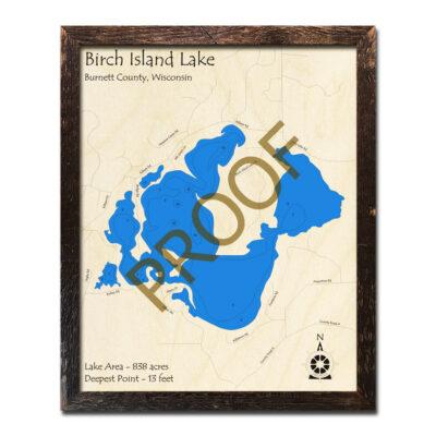 Birch Island Lake 3D Wood Map