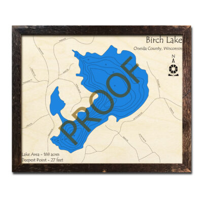 Birch Lake Wisconsin 3d wood map